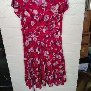 Fushcia Floral Print Challis Tiered Dress
